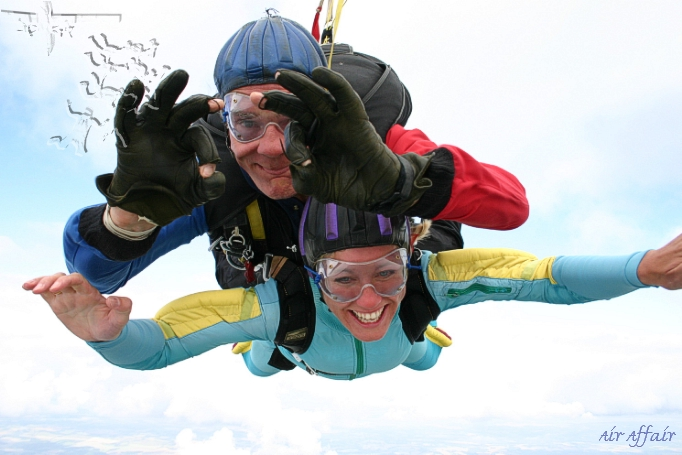 Tandem instructor Clem in freefall with Annette - we're having a ball!