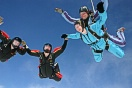 Two of our 4 way fs team, S-Sense join up with Fiona and Mark doing a tandem parachute jump.