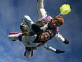 Tandem master Mike in freefall with tandem passenger Rachel Rodriguez.